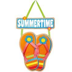 Summertime Flip Flop Burlap Door Hanger