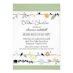 Lovebirds on Vines Floral Garden Bridal Shower Personalized Invite