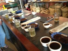 """This is a pic of a """"cupping"""" at EXO coffee in Tucson. Fun experience and great coffee!"""