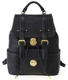 A perfect blend of casual luxury, this buttery soft backpack is perfect for your everyday needs. Features double contrast belted detail, exterior pocket, and convenient tuck-lock Cow Leather: Marc Jacobs 2012 Collection - I need this! Backpack Purse, Fashion Backpack, Marc Jacob Backpack, Artist Bag, Designer Leather Handbags, Black Cow, Jacob Black, Cow Leather, Leather Bags