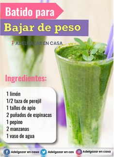 Fitness Smoothies, Smoothie Drinks, Breakfast Smoothies For Weight Loss, Weight Loss Smoothies, Juicing For Health, Health And Nutrition, Healthy Juices, Healthy Drinks, Detox Recipes