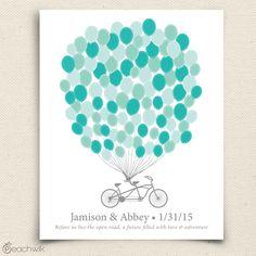 Bikewik Wedding Balloons Guestbook Art Print Via Peachwik - Tandem Bicycle Built For Two Wedding Guest Book Alternative Bike Wedding, Our Wedding, Wedding Ideas, Wedding Stuff, Dream Wedding, Forest Wedding, Autumn Wedding, Wedding Colors, Wedding Decorations