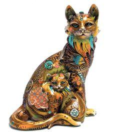 """www.artshopnc.com   """"Cleo y su Gatico""""  Medium Size Sculptures"""