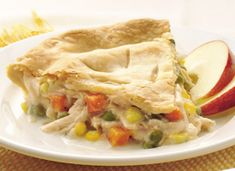 Speedy Prep Chicken Pot Pie                   Ingredients:  1 can Original Veg-All, drained. 1 can cream of mushroom. 1 can cream of potato. 1/4 cup milk. 1/2 tsp pepper  1/4 tsp thyme. 4 chicken breasts or 12 tenders (Can chicken will work too). 1-2 Pillsbury pie crusts                                greeneacreshobbyf...