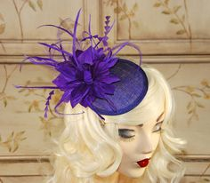 Purple Fascinator - Purple Kentucky Derby Hat - Wedding Fascinator Hat - Tea Party Fascinator Hat by MadameMerrywidow on Etsy https://www.etsy.com/listing/187379001/purple-fascinator-purple-kentucky-derby