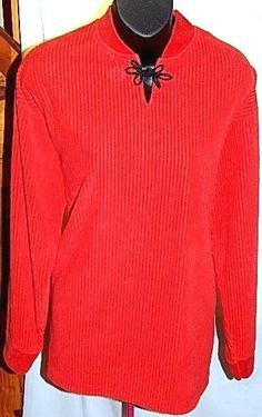 Red Ribbed Long Sleeve Knit Top Black Frog Closure Size M #Unbranded #KnitTop #Casual