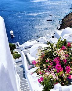 The Living... — Santorini, Greece Vacation Villas, Vacation Places, Dream Vacations, Vacation Spots, Vacation Rentals, Romantic Vacations, Italy Vacation, Romantic Travel, Beautiful Places To Travel