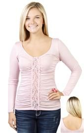 top with three quarter sleeves and lace front Deb Shops, Quarter Sleeve, Lace, Sleeves, Sweaters, How To Wear, Clothes, Shopping, Tops