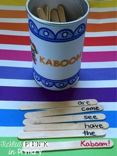 FREE sight word game! Students draw out a stick and read the sight word. If they draw the KABOOM! stick, they have to put all of their sticks back in the container.