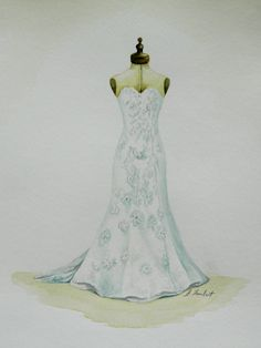 Custom Watercolor Paintings of Wedding Dresses by eplambert, $75.00