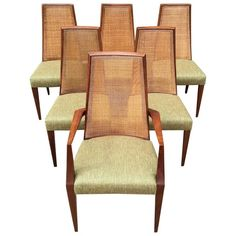 Mid Century Modern Tall Cane Back Dining Chairs By Grosfeld House