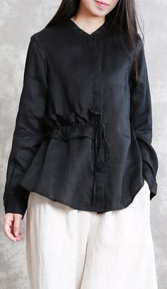 Fine black natural linen t shirt oversized casual cardigans women drawstring stand collar cotton clothing Fashion Pants, Boho Fashion, Fashion Outfits, Dame Chic, Jugend Mode Outfits, Cardigans For Women, Coats For Women, Linen Tshirts, Kurti Designs Party Wear