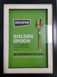 56 Ristorante Italiano awarded with Groupon Golden Spoon Award for bein Best Italian Restaurant in Gurgaon