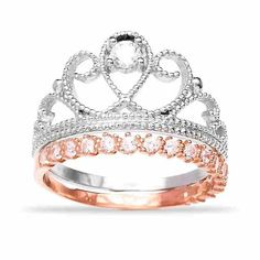 Sterling Silver Crown Ring and Rose Gold Band Set - Pre Order Special – Sparkle & Jade