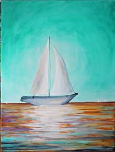 sail boat-original abstract painting,ocean,wave,reflection. 24x18inch on stretched canvas,