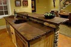 Very rustic - stained concrete counter tops