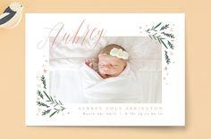 Dainty Botanicals Birth Announcements by Kristie K... | Minted