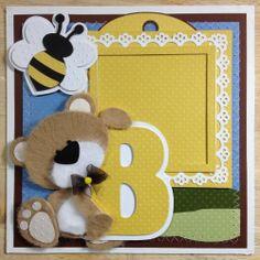 TWAG LSHD 3D Tear Bear 8X8 Chipboard Premade Scrapbook Page 4 Mini Albums PEARL