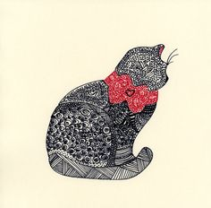 zentangle cat   ATCsforALL - Gallery - Calico Cat Zentangle