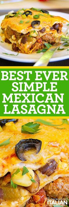 Mexican Lasagna is made with layer upon layer of spectacular south-of-the-border flavors.  A drool worthy dish with just enough heat to wake up your taste buds, you will surely beat the picky palates in your house with this fabulous casserole that takes 15 minutes of prep and 15 minutes to bake. #mexicanfoodrecipes