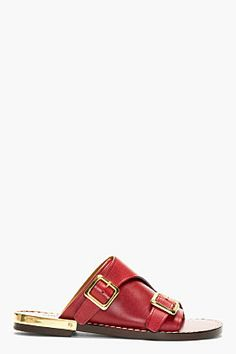 CHLOE Red Leather Slip-On Sandals