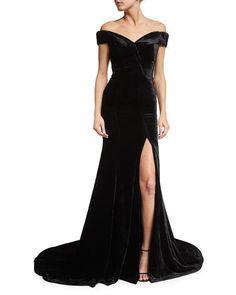 Rachel Gilbert Velvet Off-Shoulder Gown, Black Velvet Evening Gown, Velvet Gown, Evening Dresses, Prom Dresses, Long Dresses, Fitted Dresses, Long Dress With Slit, Off Shoulder Evening Dress, Off Shoulder Gown
