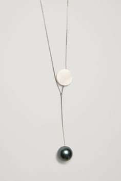COS image 5 of Long pearl and disc necklace in Silver