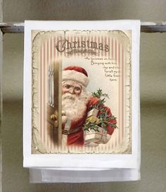 Vintage Christmas Santa, Christmas towel, Christmas decor, Christmas Gift, fun christmas, kitchen bar towel by barandbistroco on Etsy