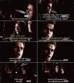 season 4 ep 21 - elena and Stefan : seems like a great strategy until he realizes she focuses on hate