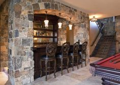 basement rustic game room ideas | Do you have a basement that needs a game room and man cave bar ...