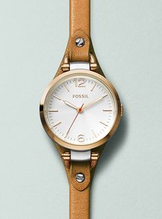Fossil Georgia Brown Leather Strap Watch » I've always been a fan of Fossil. Love the thin band.