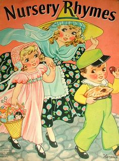 Vintage linen nursery rhyme book.