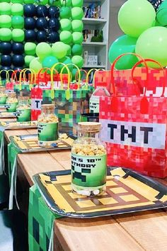 Check out this awesome Minecraft birthday party! The table settings so much fun!! See more party ideas and share yours at CatchMyParty.com #catchmyparty #partyideas #minecraft #minecraftparty #boybirthdayparty #tablesettings Minecraft Birthday Party, Birthday Parties, Creeper Cake, For Your Party, Garland, Centerpieces, Place Cards, Birthdays, Table Settings