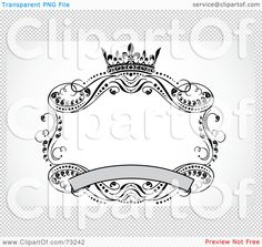 Scroll Banner | ... Clipart Illustration of a Crown, Banner And Scroll Frame by BestVector