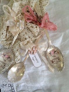 Vintage Silver Plate Altered Spoon French Ephemera Ornate Ribbon Glass Glitter   eBay