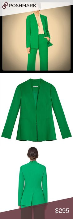 Alice + Olivia Green Jerry Blazer Talk about a trail blazer. We love the amazing kelly green color, sleek fit and minimalist tailoring on this blazer. With long sleeves and a hook and eye closure, it's a sharp and sexy cover up for this season's flirty looks.  Styled here with Kelly Green Paulette Slim WB HW Pant Alice + Olivia Jackets & Coats Blazers