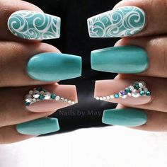 Teal, nude and white