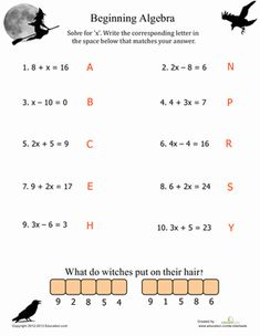 Kick-start spooky fun with our best Halloween math printables for fifth grade. From decimals and fractions to multiplication, your child won't mind practicing math basics with these spooktacular worksheets. Algebra Activities, Maths Algebra, Teaching Math, Math Math, Halloween Math Worksheets, School Worksheets, Basic Algebra Worksheets, Seasons Worksheets, Math Charts