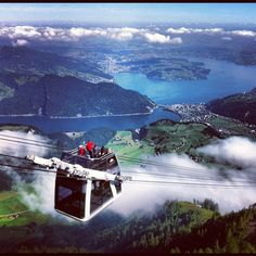Cabrio cable car, Mt. Stanserhorn. This looks terrifying!  World's first open air cable car.  First floor holds 60; open top holds 30.