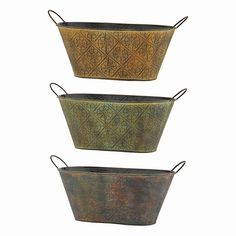 12 in. L. x 7.5 in. W. x 5.5 in. D. Embossed Metallic Oval Planter w/Hard Liner 3 Assorted
