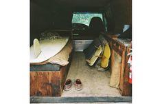 Camper Van Interior Rustic Surfboards van-life.net