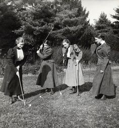 Vassar women playing golf, (1895)