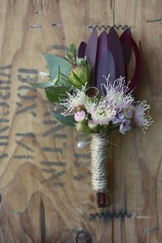 proteas and native flowers grown fresh in beautiful south-eastern Tasmania, weddings and floral design Flower Headpiece Wedding, Corsage Wedding, Wedding Bouquets, Corsage Pins, Corsages, Floral Wedding, Wedding Flowers, Groom Boutonniere, Boutonnieres