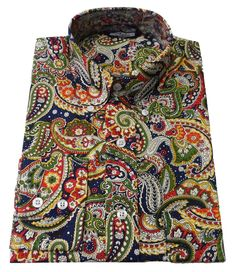 Shirt Multi Colour Navy Paisley Men's Button Down Long Sleeve Cotton Relco Mens Paisley Shirts, Men Shirts, Tartan Men, Shirt Dress Pattern, Hippie Tops, Stylish Shirts, Mod Fashion, Gentleman Style, Retro Outfits