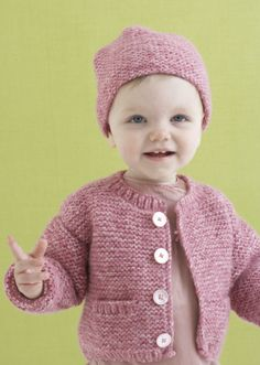 Knitting Pattern: Grace Cardi and Hat  SKILL LEVEL:  Easy  SIZE: 9 mos, 12 mos, 24 months (2 yrs)  Finished Chest 19 1/2 (22, 24) in. (49.5 (56, 61) cm)