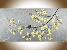 Yellow Flower Wall Art original art abstract painting yellow grey flowers modern textured