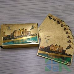 Gold Game Card Atlantis Dubai Poker Fancy Gold Foil Plated Playing Cards EXPO 2020 Plated Playing Cards Poker Table Games