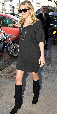 Love the dress with the boots.