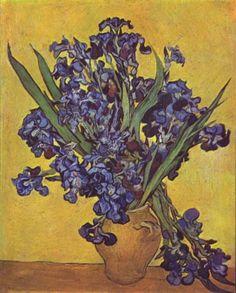 Vincent Willem van Gogh.  Stilleben mit Schwertlilien. 1890, Öl auf Leinwand, 92 × 73,5 cm. Amsterdam, Van Gogh Museum. Niederlande und Frankreich. Neo-Impressionismus.  KO 01609