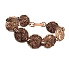 Copper Penny Bracelet. This beautiful copper bracelet features 9 Lincoln Memorial Cents layered in an antiqued copper. The bracelet stays secure with a safety latch. A Certificate of Authenticity is included.